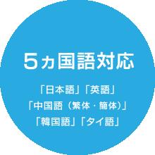 5ヵ国語対応「日本語」「英語」「中国語(繁体・簡体)」「韓国語」「タイ語」